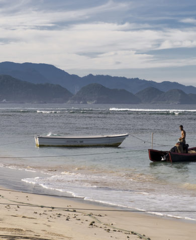 A beach with fishing boats