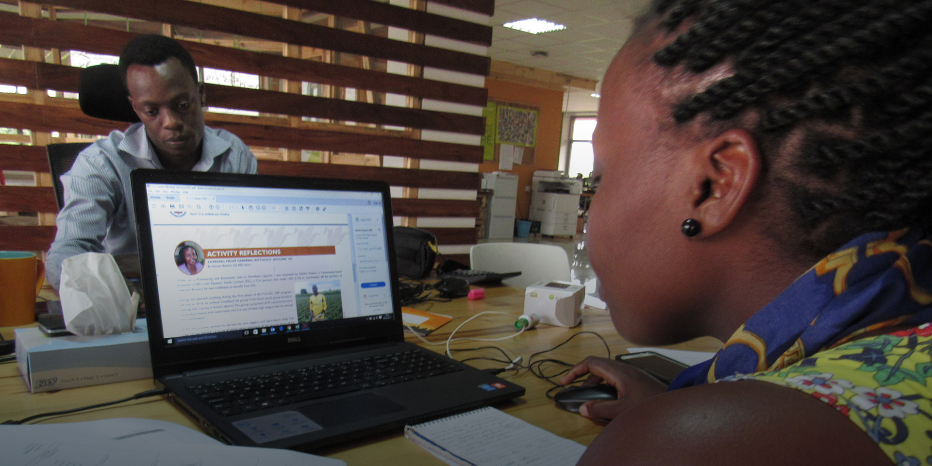 Staff in Uganda reflect on an activity.
