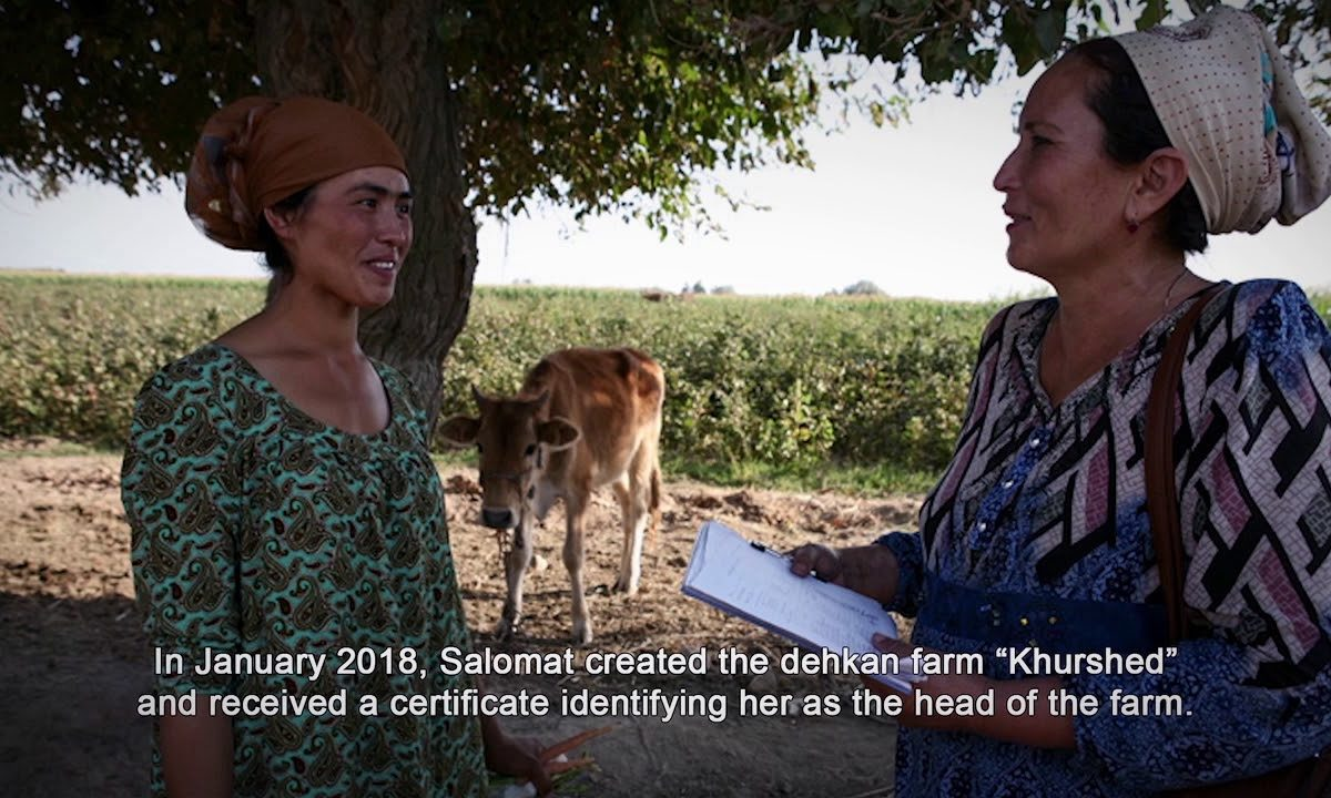 video screenshot of woman farmer in Tajikistan