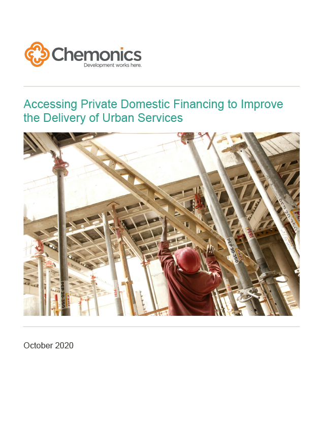 """Thumbnail image of the paper """"Accessing Private Domestic Financing to Improve the Delivery of Urban Services"""""""