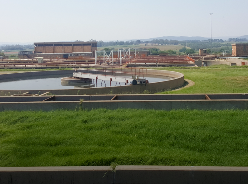 A clarifier at a wastewater treatment facility in South Africa.