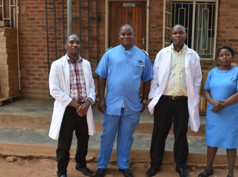 Dr. Wilson Ching'ani (third from left) and his team at Zomba District Health Office, Malawi. Credit: HRH2030