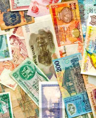 Stock image of multiple currencies.